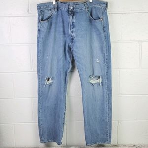 Levi's 501 Button Fly Light Distressed Jeans 42/30